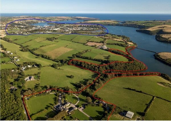 Aerial view of the house, smaller cottages, land and Bandon River/Kinsale town  proximity
